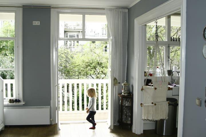 Open kitchen, living room and garden terrace