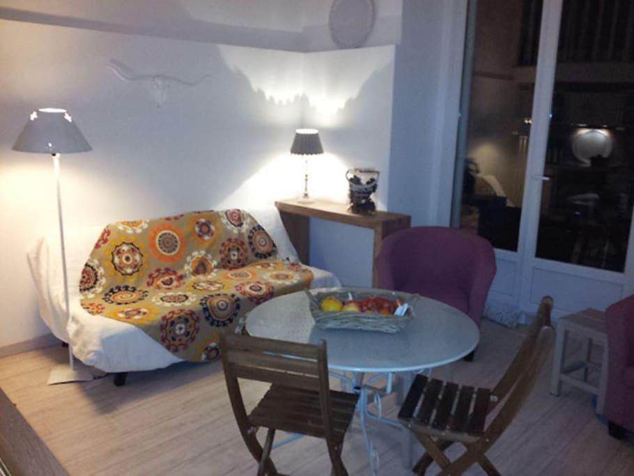 Canapé lit 1,2 m (1 place) dans le salon