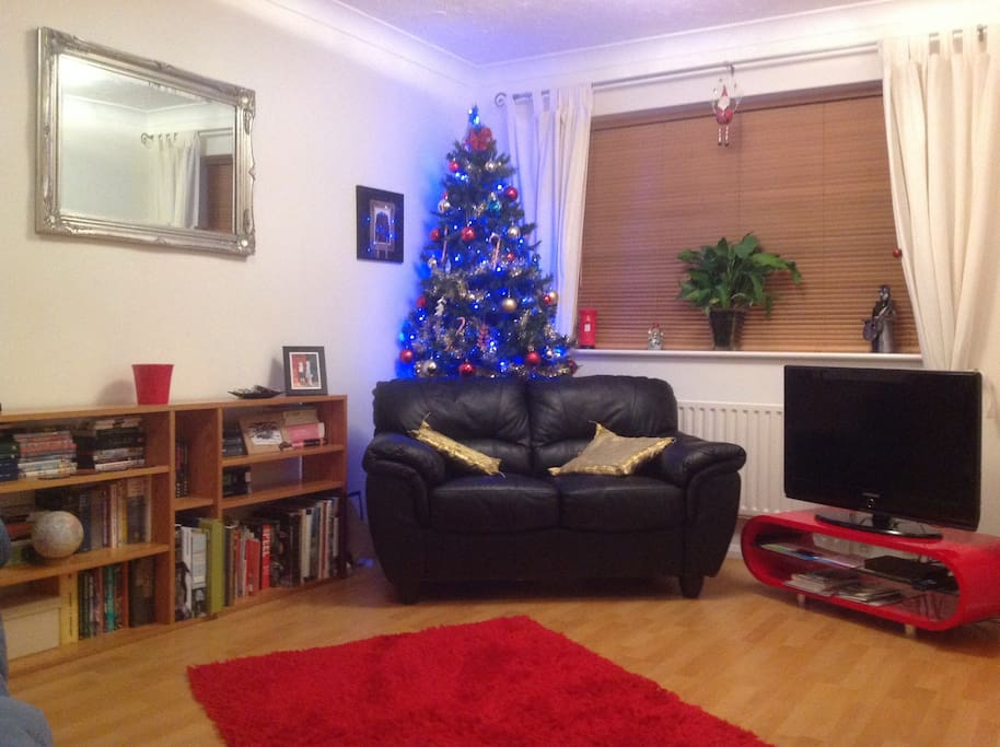 Living room at Christmas with the new extra sofa