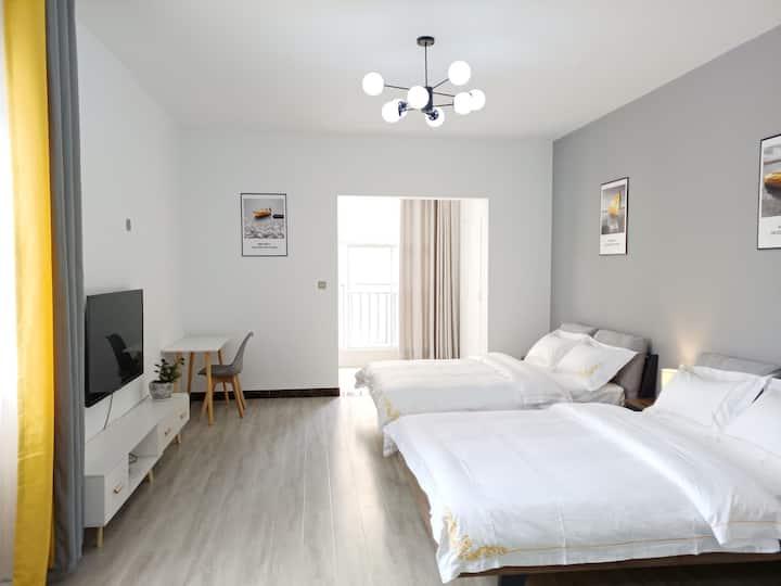 【梧桐居】北欧简约双床公寓/新州医院对面/可洗衣烹饪美食