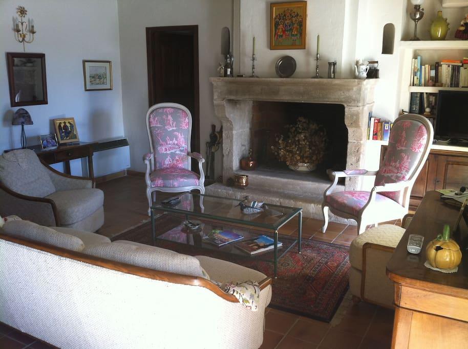 Salon avec belle cheminée et meubles de caractères.
