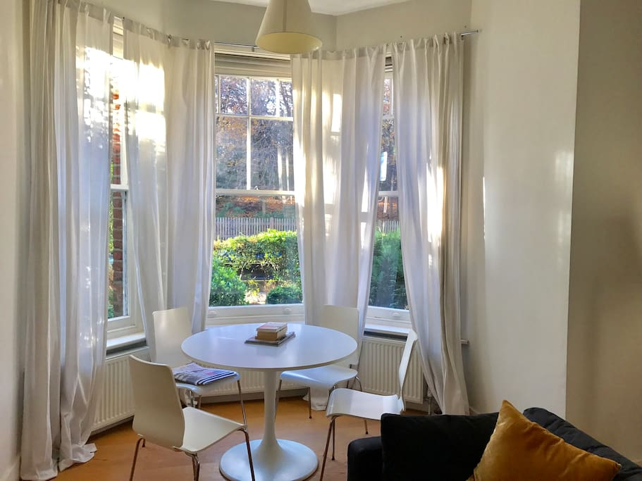 Dining table and views to Highgate Wood