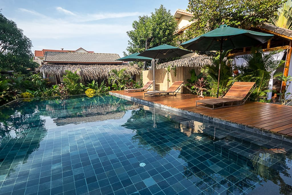 Anicca villa with private garden swimming pool houses for Garden pool hanoi