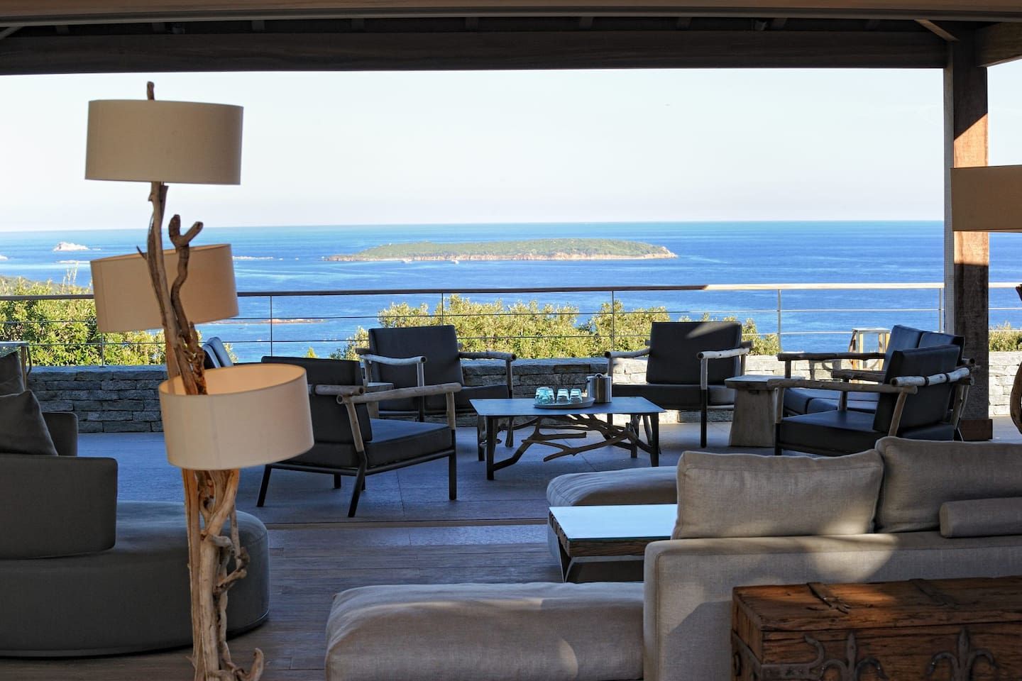 180° sea view, overlooking Palombaggia beach, cerbicales islands on the front.