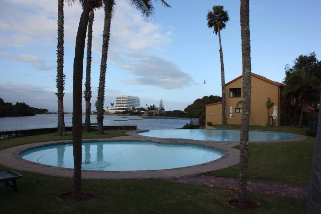 View from complex swimming pool.