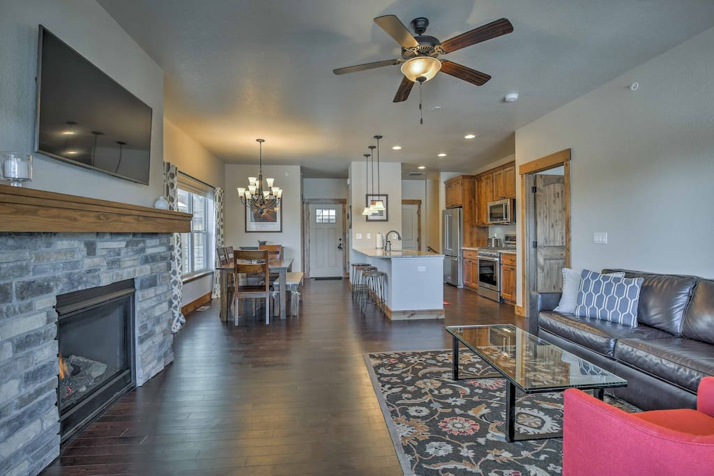 The interior offers a cozy, cabin-like atmosphere to make you feel right at home during your alpine retreat.