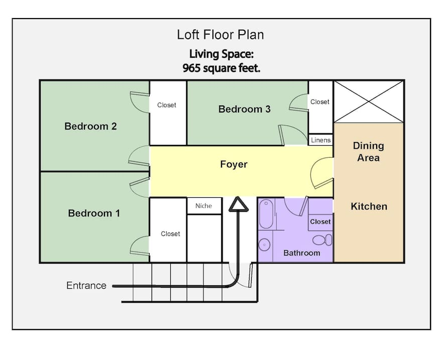 FLOOR PLAN~  SPACIOUS, 965 sq.ft. Living Area  ~ All PRIVATE.