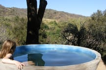 Enjoy the wood-fired hot tub with view, day or night, just let us know ahead of time & we'll fire it up!