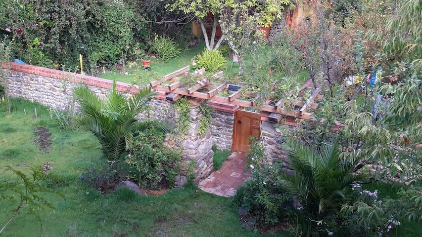 Japanese pergola entry into garden.