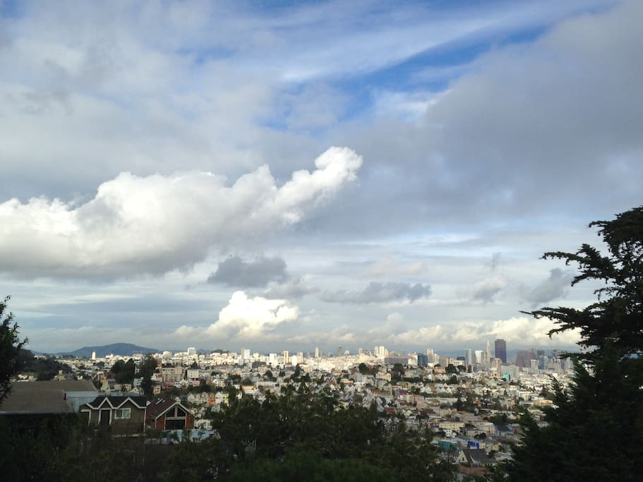 One of the ever-changing looks of the SF skyline from our deck.