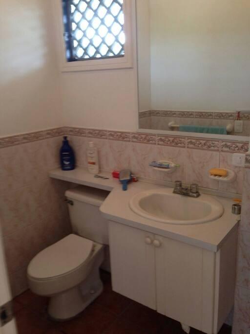 Un baño completo para el dormitorio master.