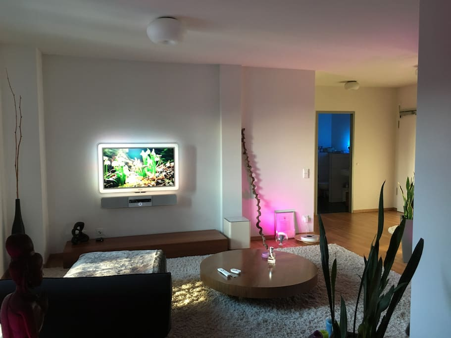 Wohnbereich mit Flat-TV und Ambilight