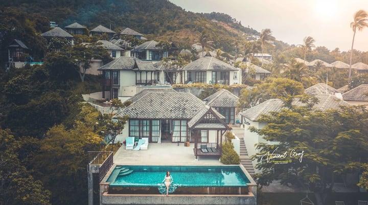 海滨豪华别墅,卧室二,270°海景,私人泳池,附属五星级酒店/高私密性,近查汶。24小时保安