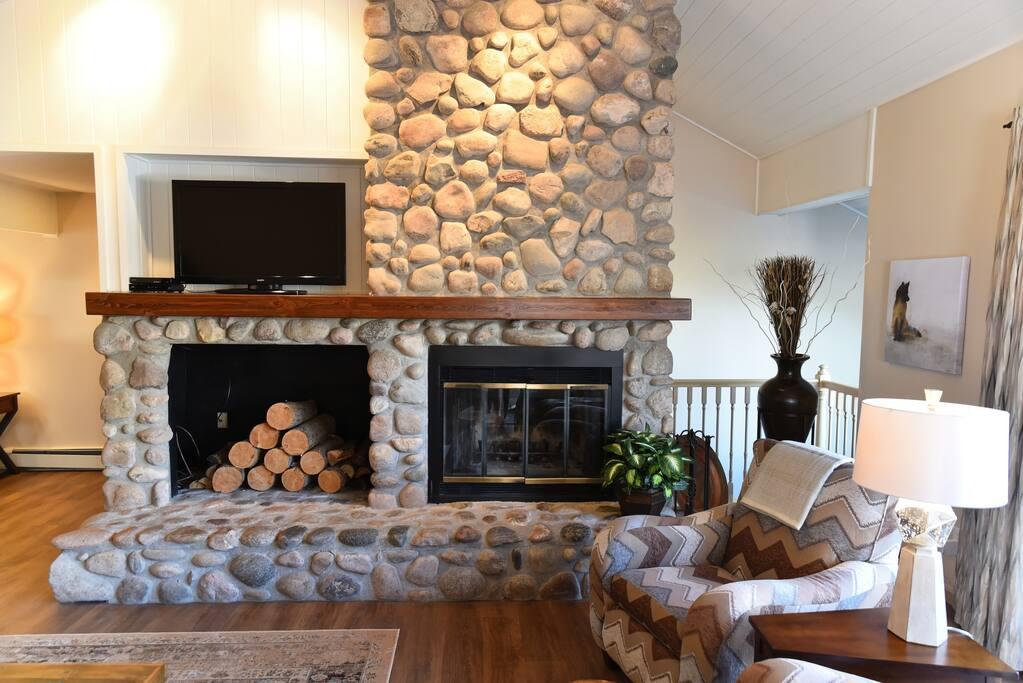 Real wood burning fireplace