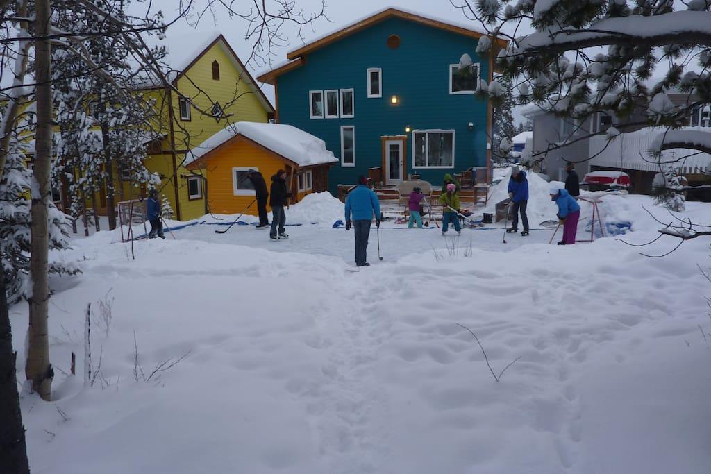 Skating in the backyard