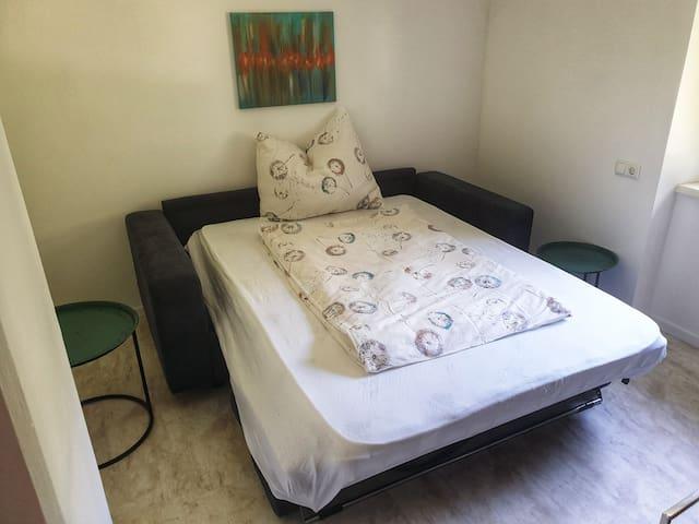 Dies ist eine sehr gute Auszieh couch mit einer echten Matratze. Diese ist in einem Raum mit Dusche und Waschbecken siehe Plan