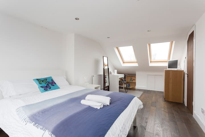 Large , Bright Bedroom with private bathroom