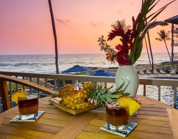 Sunset in Paradise! Direct Ocean View Kona Reef