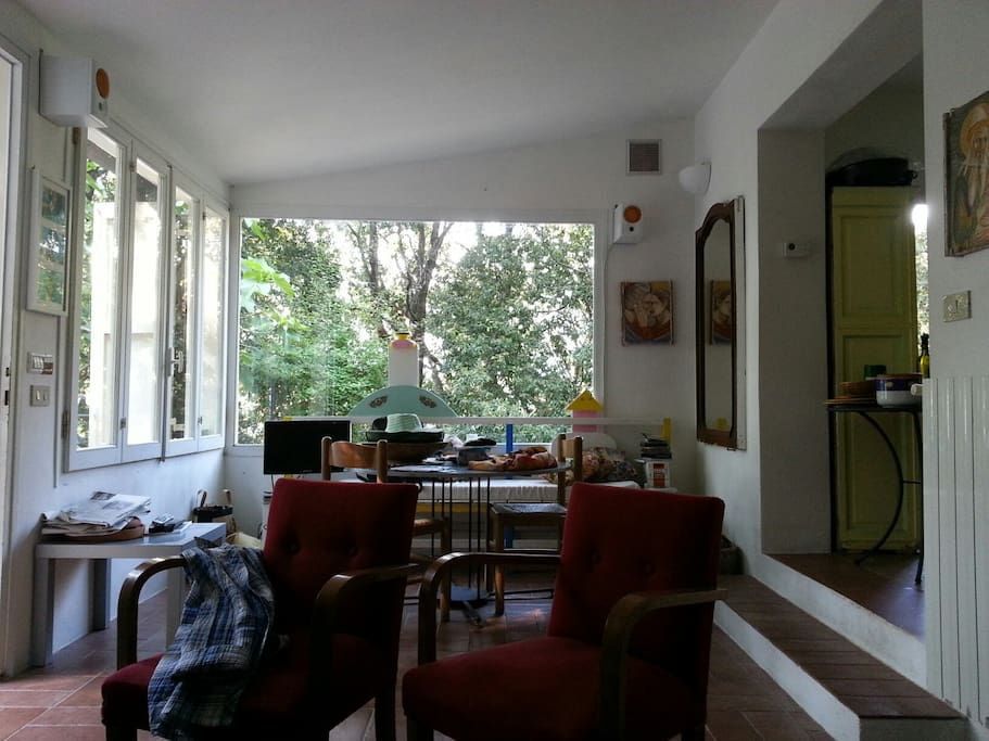 the living room with the veranda in the middle of the woods