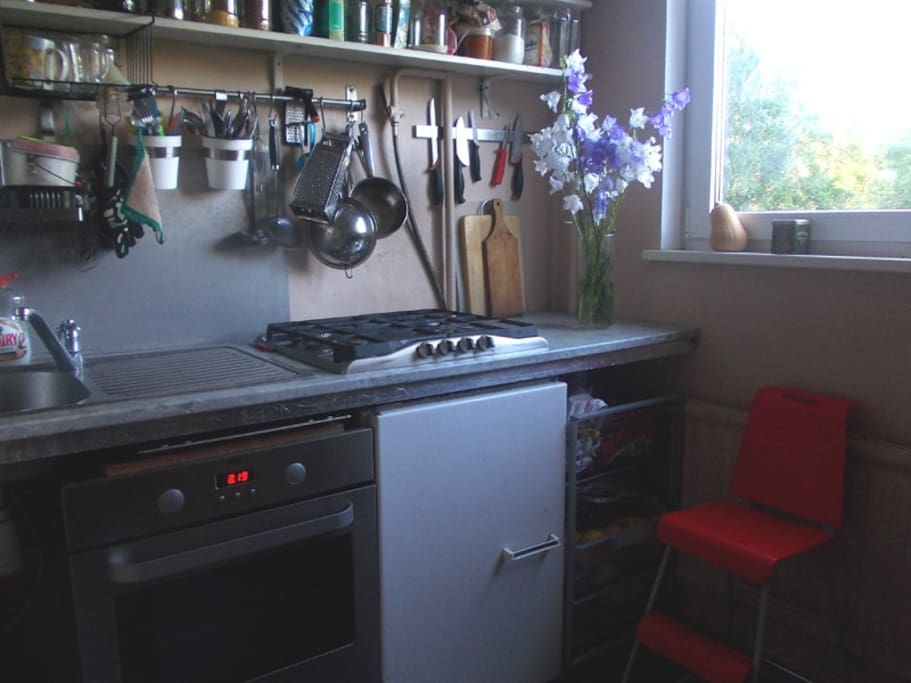 the kitchen has a stove, an oven, a refridgerator. And lots of light