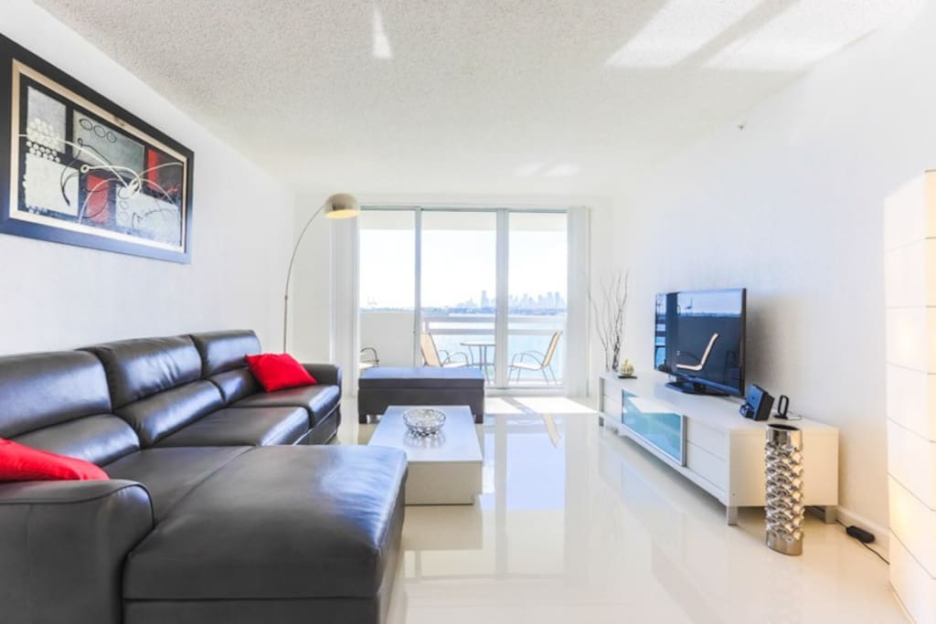 living room, with panoramic views of Miami Bay
