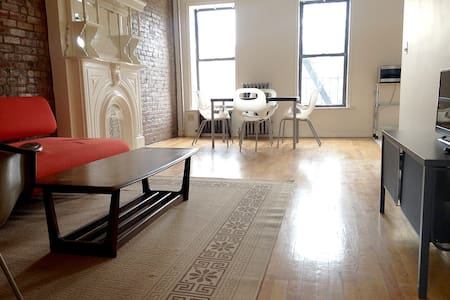 Make yourself at home in this spacious one bedroom apartment in a historic brownstone. Features exposed brick and ornamental fireplace, is ideal for a couple and has easy access to Manhattan and JFK.