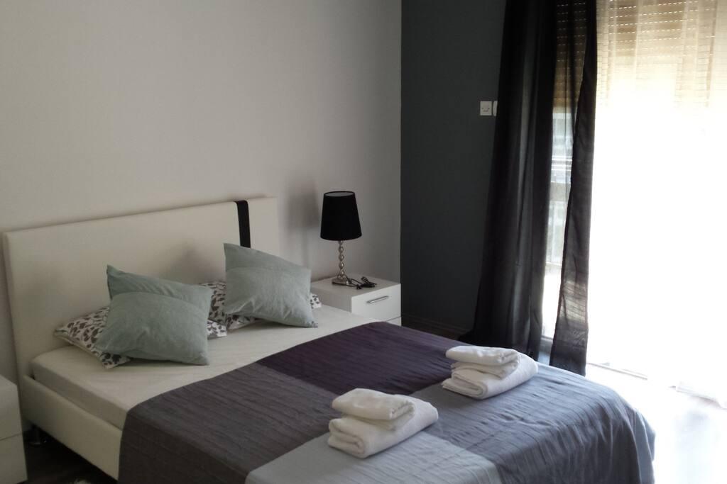Gray-white double room