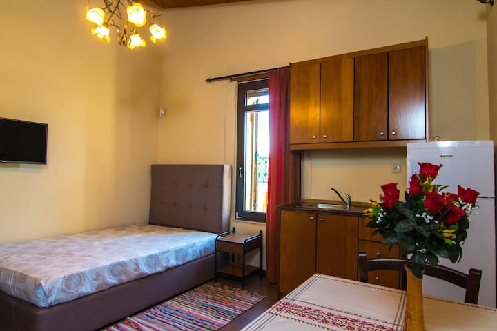 Bedroom (no3) with double bed and a kitchenette on the first floor