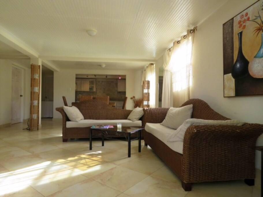 Spacious lounge with open plan kitchen
