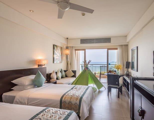 『距离海边50米』三亚湾国光豪生五星度假酒店自己的业主房 海景花园房,房源真实