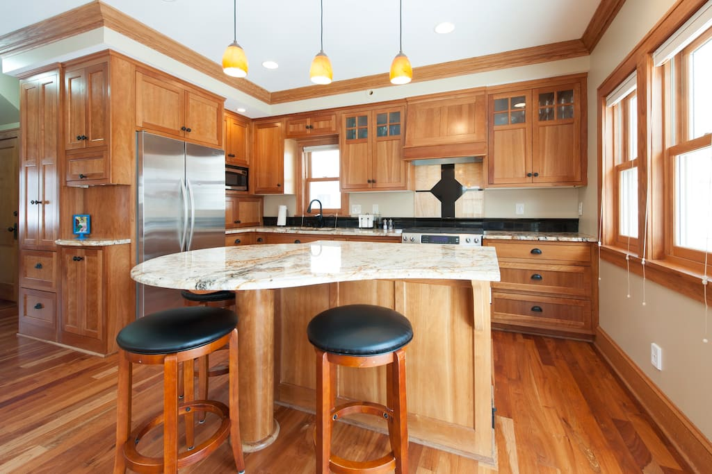 Spacious kitchen/family room area, with access to large deck for summer BBQs