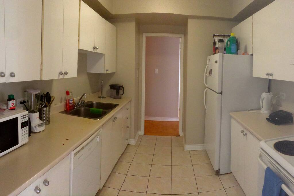 Kitchen is shared in between 3 bedrooms, available to use 24/7.