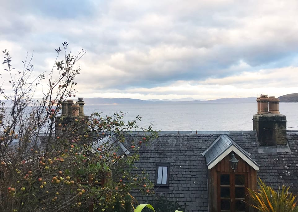 View from back of cottage over Applecross Bay to Skye
