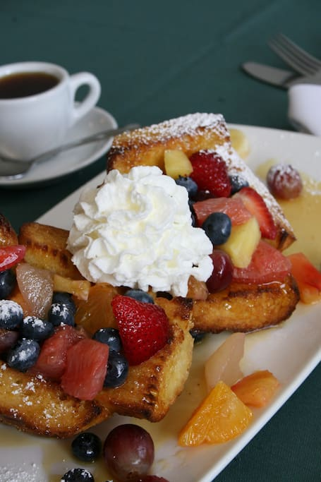 Signature Creme Brulee French Toast, one of many full breakfasts cook-to-order
