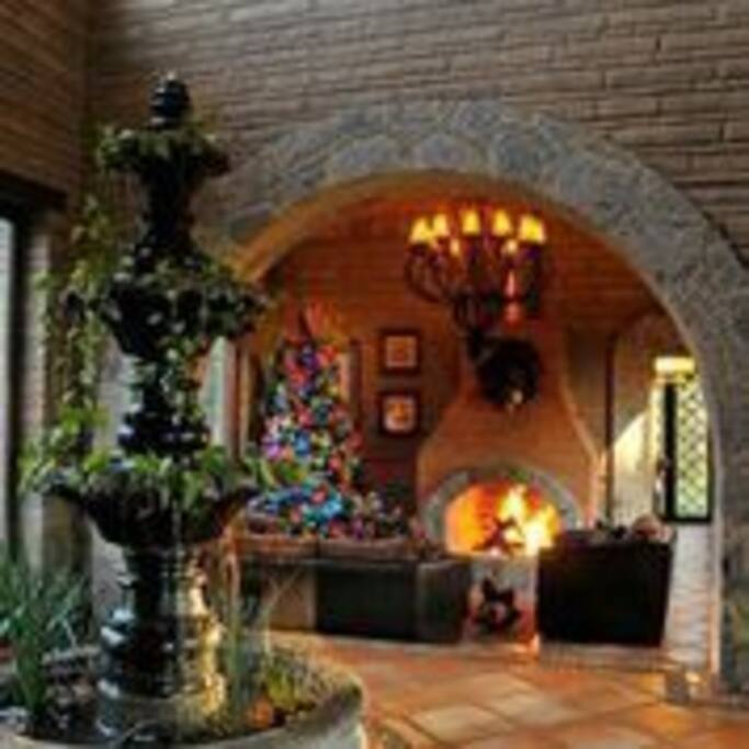 Enjoy a delightful evening by the fireplace