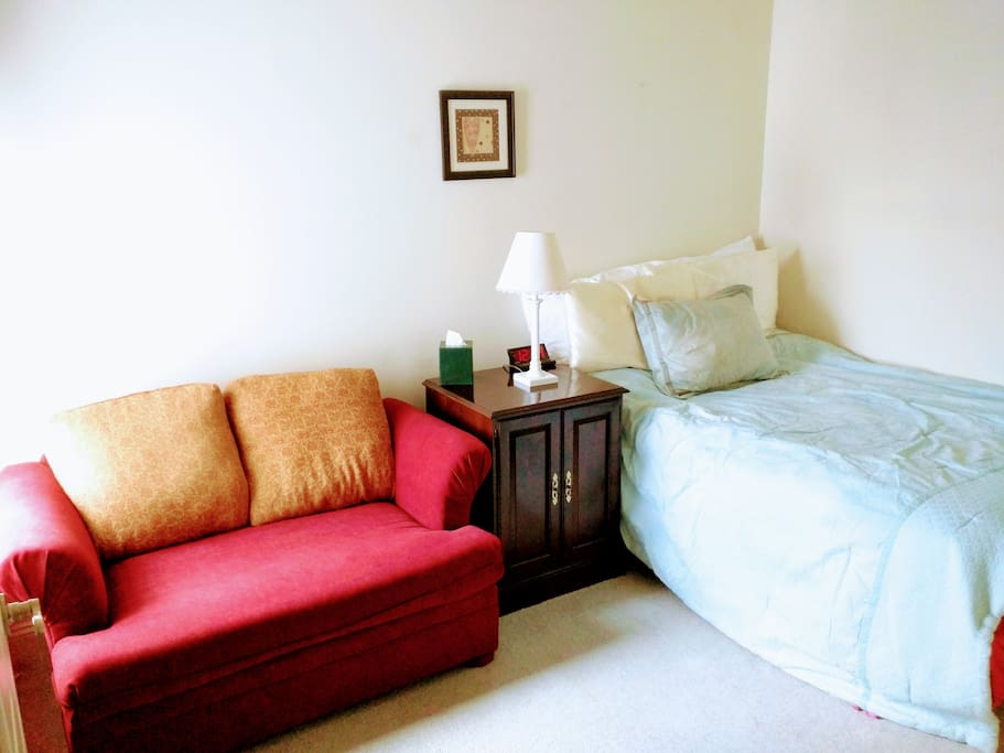 Room features loveseat sofa and double bed. There's also an nightstand/small dresser, large closet, and alarm