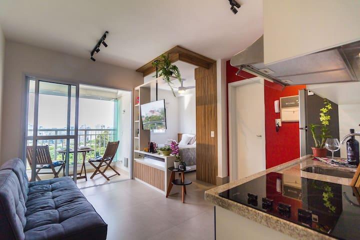 Studio na Vila Madalena, Vista Incrível! Vermelho