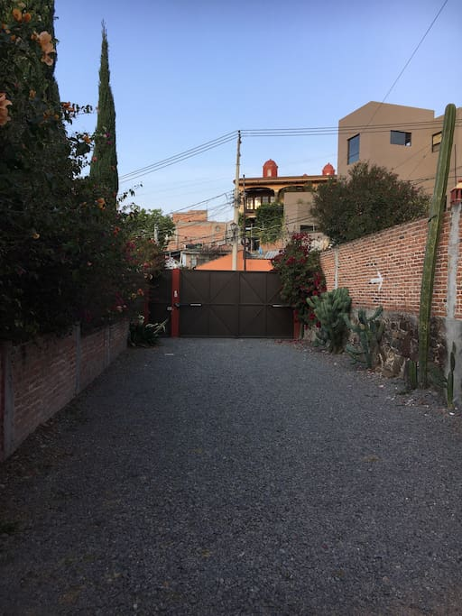 Private, gated parking (seen from inside the gates)