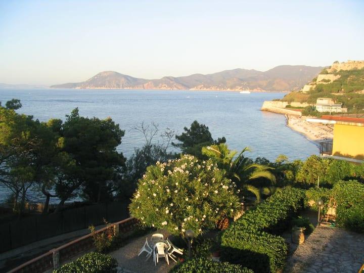 Elba Island on the sea with garden