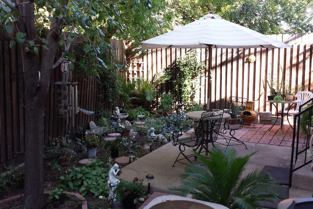 Zen garden patio area