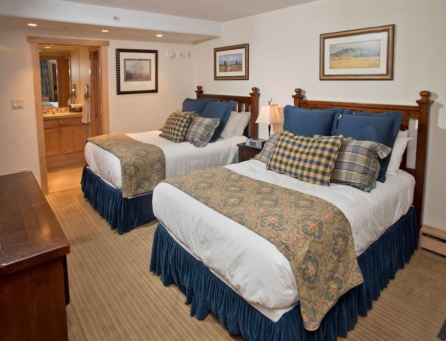 Get a good night sleep in one of the plush queen-sized beds.