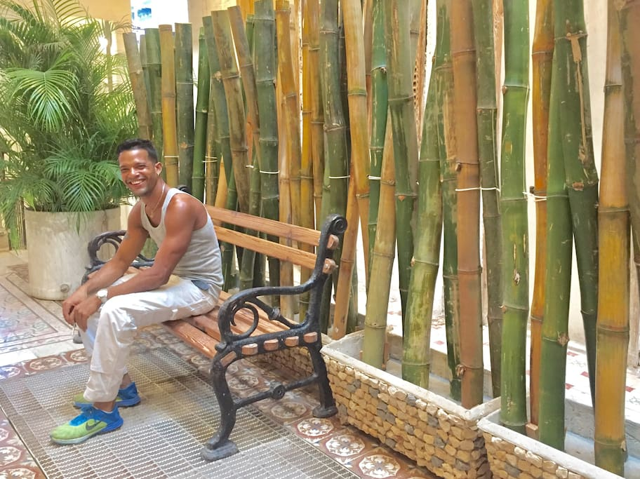 Darian in new bamboo garden