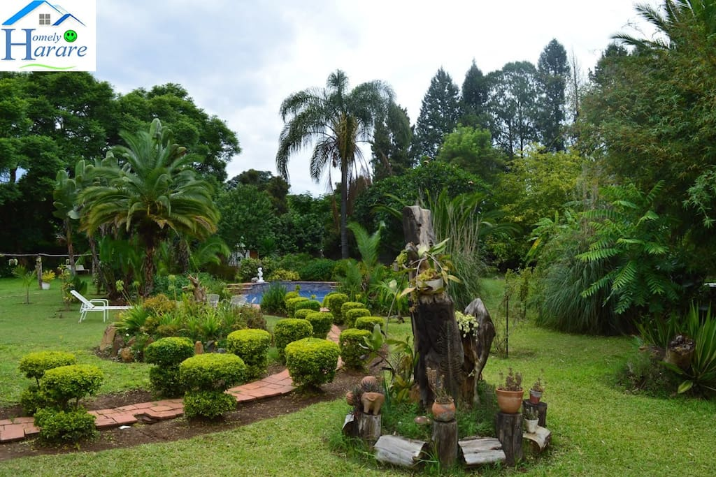 The well manicured garden, sparkling blue swimming pool and sunbathing furnishings will give you the joy of outdoor living...Enjoy the African sun.