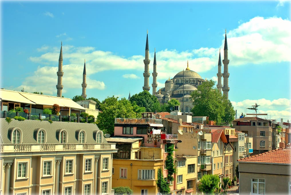 This is the the beautiful view of the famous Blue Mosque.iew of Blue Mosque from our terrace