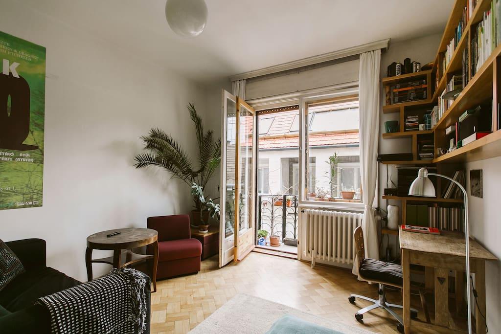 sunny apartment on a rainy day.