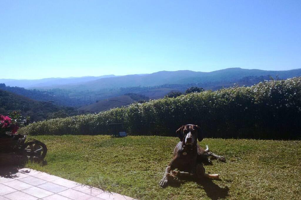 Vista das montanhas em frente ao chalet