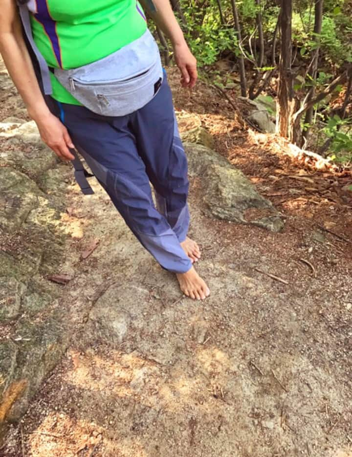 Walking on the rock with barefoot