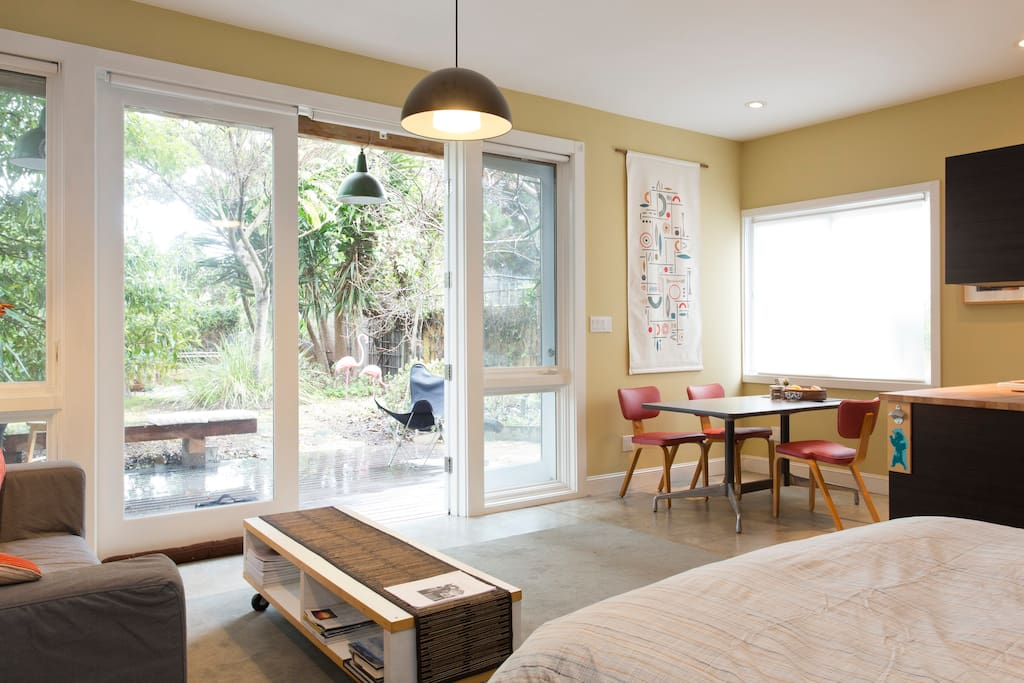Spacious, high ceilings, lots of natural light.