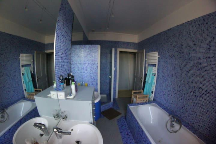 Salle de bain (commune avec chambre 1 et chambre 2) avec douche, baignoire et  2 vasques indépendantes.