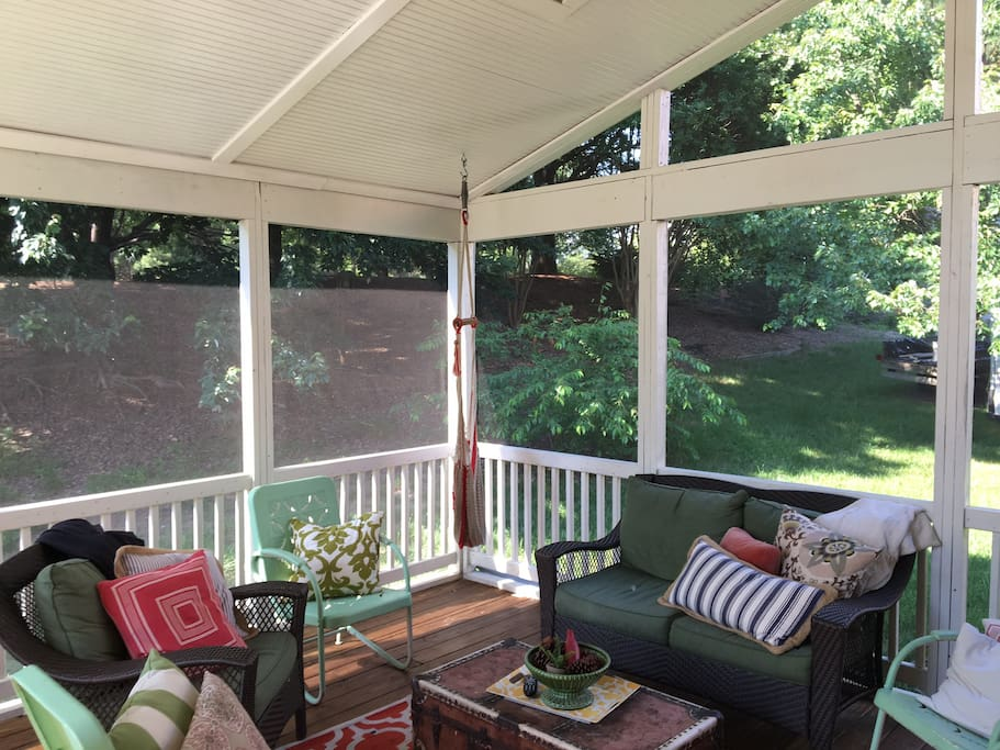 spacious screened in porch - including outdoor TV.